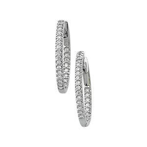 14K White 1 CTW Diamond Hinged Inside-Outside Hoop Earrings