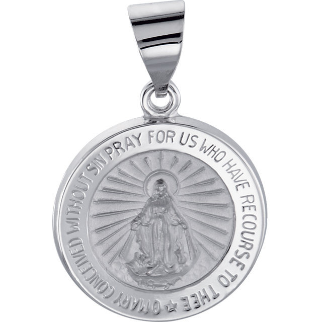 14K Yellow Gold 15mm Round Hollow Our Lady of Perpetual Help Medal