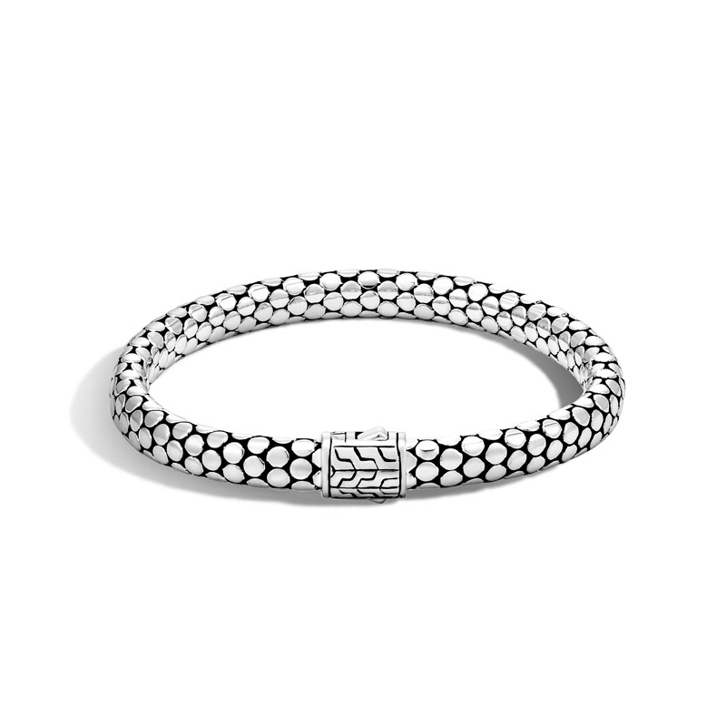 WOMEN's Dot Silver Small Chain Bracelet with Pusher Clasp