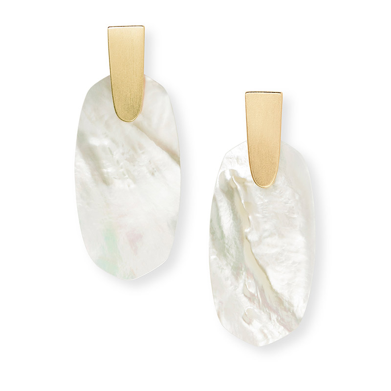 Aragon Ivory Mother Of Pearl Gold Tone Earrings