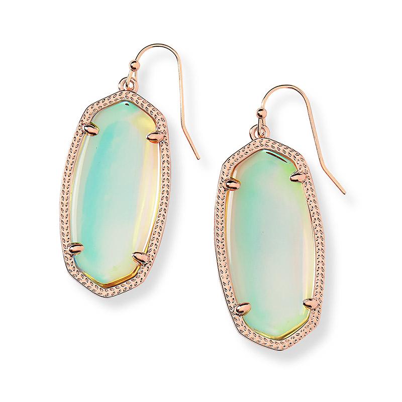 781e04d9b Elle Dichroic Glass Rose Tone Earrings - 4217701156
