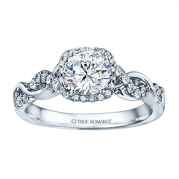 Rm1405 -14k White Gold Round Cut Halo Diamond Infinity Engagement Ring - RM1405R-E